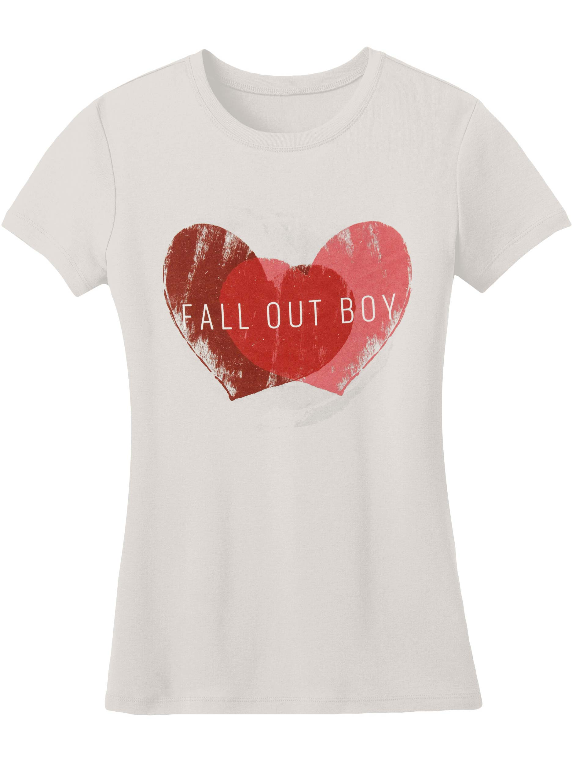 Fall Out Boy  Weathered Hearts Girls Jr Soft tee Silver