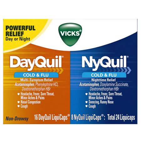 Vicks DayQuil & NyQuil Cough, Cold & Flu Relief Combo, 24 LiquiCaps (16 DayQuil, 8 NyQuil) - Relieves Sore Throat, Fever, and