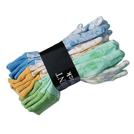 SEUROINT 6 Pairs Pack Women Soft Garden Gloves, PVC Dots Cotton Work Gloves Non slip Assorted Colors - Medium