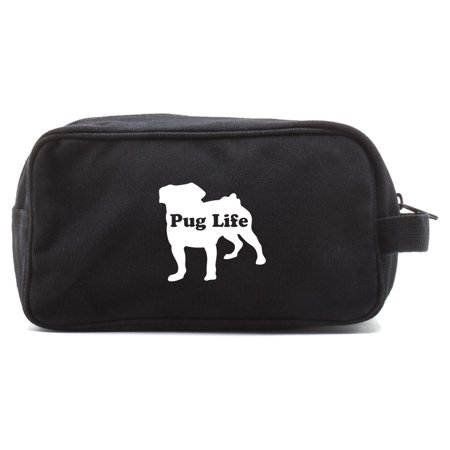Pug Life Puppy Canvas Shower Kit Travel Toiletry Bag