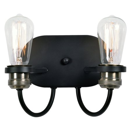 - Kenroy Home Damien Black with Plated Antique Brass 2 Light Sconce