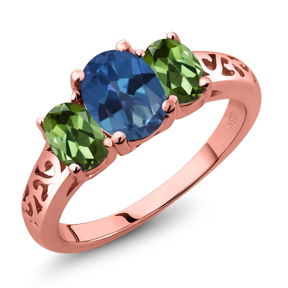 2.30 Ct Blue Mystic Topaz Green Tourmaline 18K Rose Gold Plated Silver Ring by