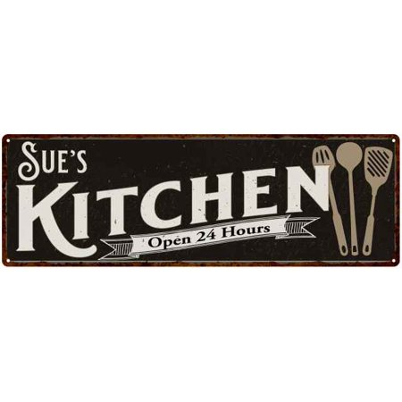 Sue's Personalized Kitchen Sign Chic Wall Decor Gift Mom 6x18 (Moms Kitchen Sign)