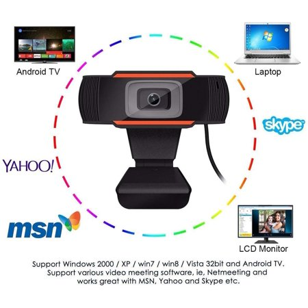480P Computer Webcam PC Desktop Rotatable USB 2.0 Camera with Microphone for Skype Android TV - image 2 of 8