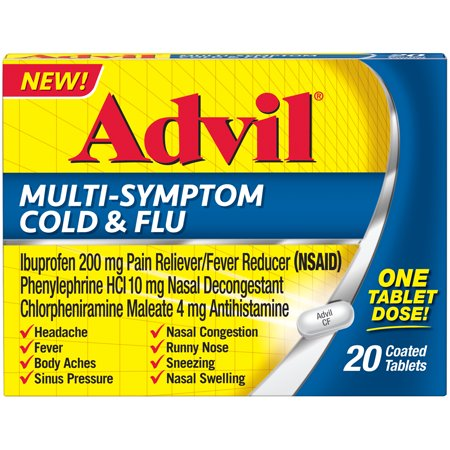 Symptoms 60 Tablets - Advil Multi-Symptom Cold & Flu Tablet (20 Count) Coated Tablet, 200 MG Ibprofuen