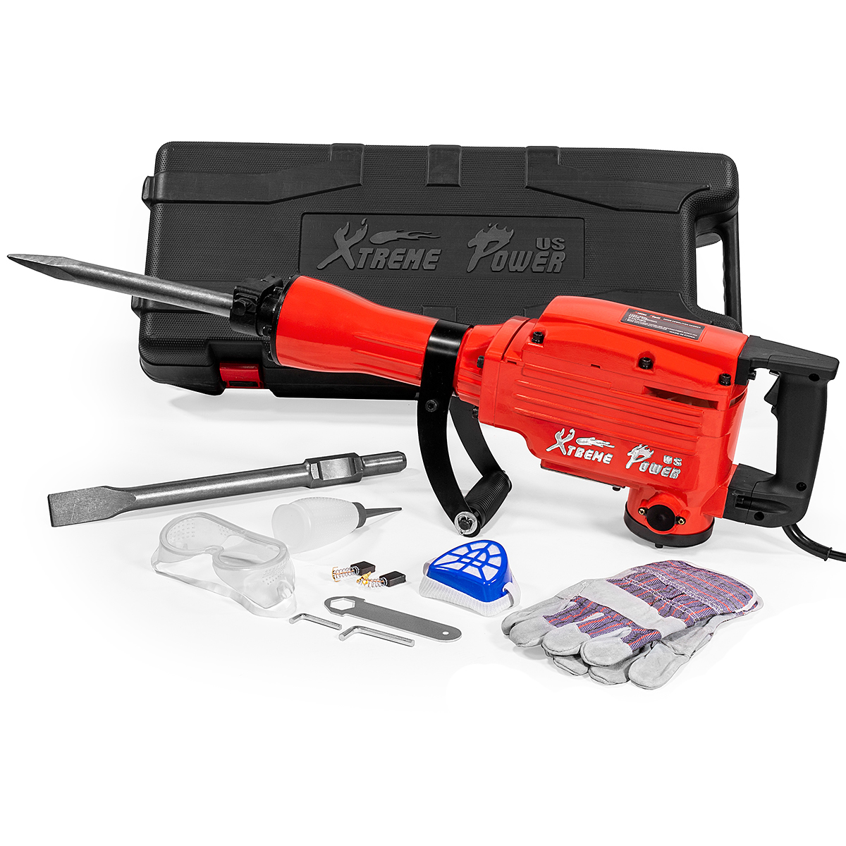 XtremepowerUS 2200W Electric Jack Hammer Concrete Demolition (2) Chisel Point Flat Bit with Carrying Case
