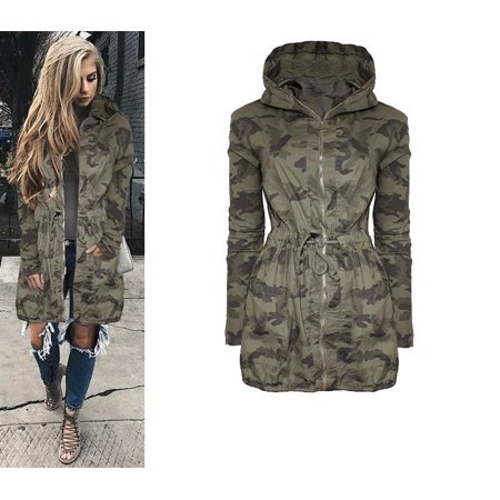 1728999dd7889 Sexy Dance - Fashion Women's Drawstring Waist Hooded Coat Lightweight  Camouflage Green Long Windbreaker Jacket Outwear and for Outdoor Activities  - Walmart. ...