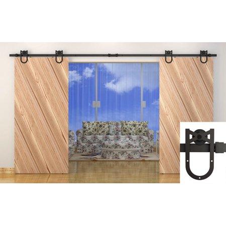 12 ft dark coffee antique horseshoe barn wood double for 12 ft double barn door hardware