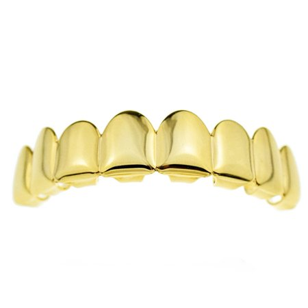 14K Gold Plated Grillz Eight Tooth Upper Top 8 Piece Bling Teeth Mens Hip Hop Grills