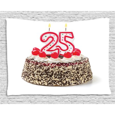 25th Birthday Decorations Tapestry, Number Candles Twenty Five on Chocolate Cherry Cake Yummy, Wall Hanging for Bedroom Living Room Dorm Decor, 60W X 40L Inches, Red Cream Brown, by Ambesonne