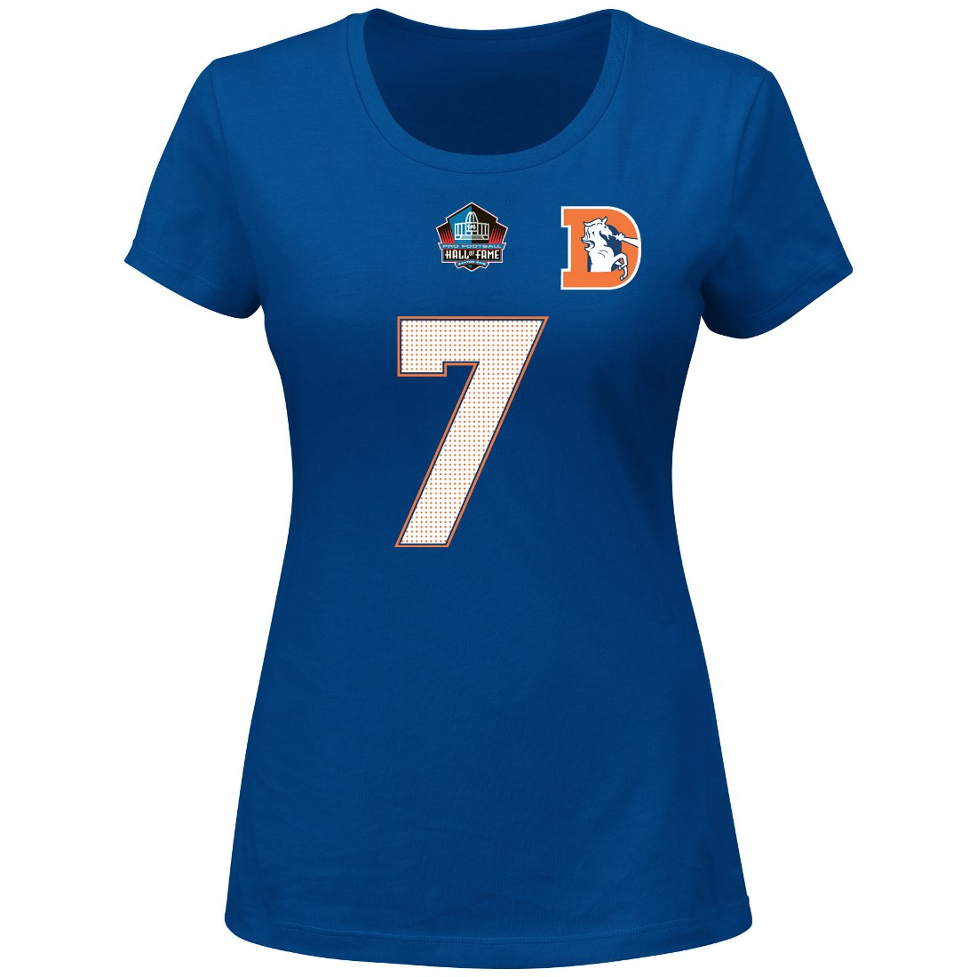 "John Elway Denver Broncos Women's Majestic NFL ""HOF Fair Catch"" T-Shirt"