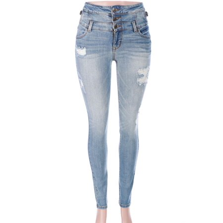 Worn Jeans Button Fly Jeans - Salt Tree Women's Eunina 3 Button Fly Distressed Denim Jeans, US Seller