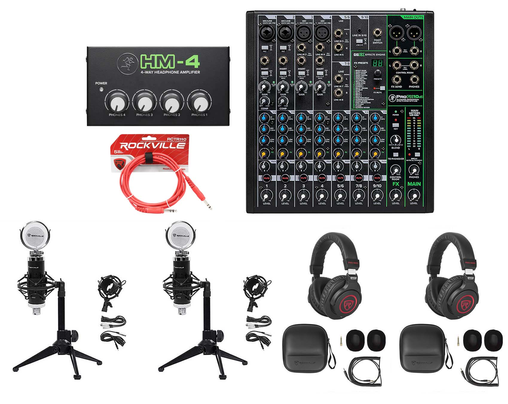 2-Person Podcast Podcasting Recording Kit w//Mackie ProFX10 v3 Mixer+Desk Stands