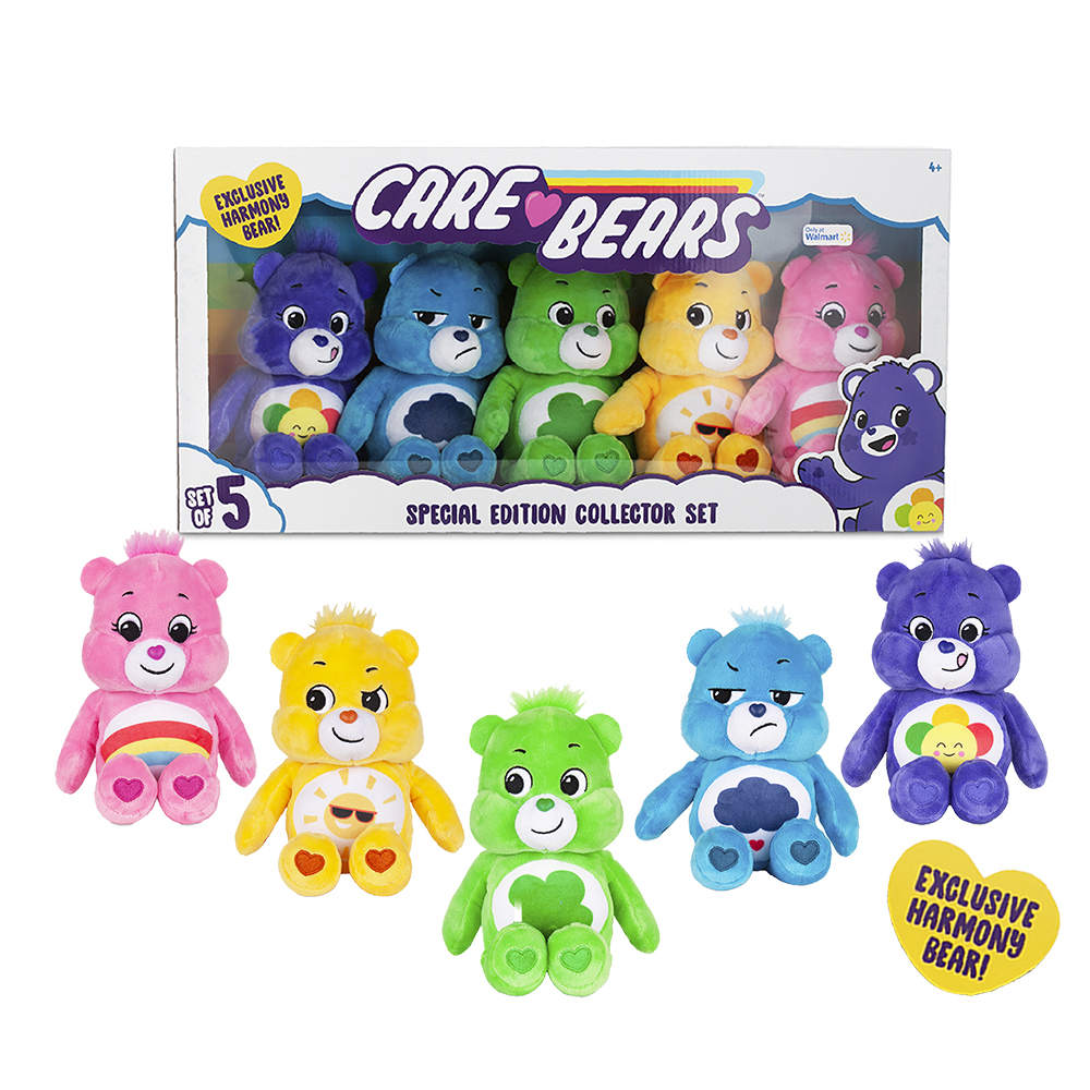 """NEW Care Bears - 9"""" Bean Plush - Special Collector Set - Exclusive Harmony Bear Included!"""