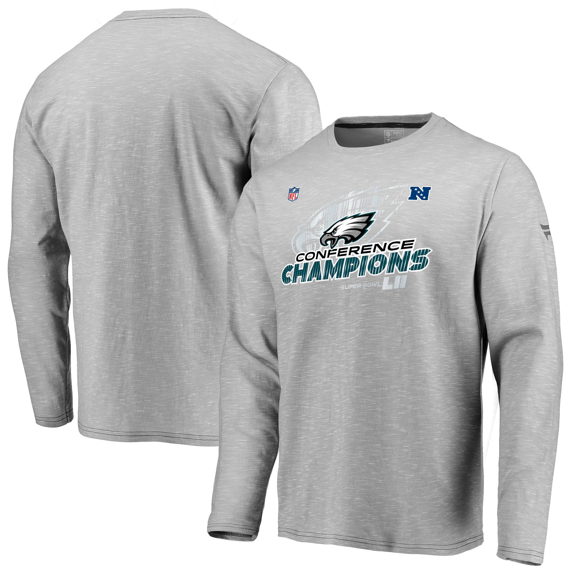 Philadelphia Eagles NFL Pro Line by Fanatics Branded 2017 NFC Champions Trophy Collection Locker Room Long Sleeve T-Shirt - Gray