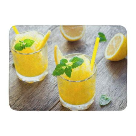GODPOK Lemon Frozen Granita Slush Drink in Glasses on Rustic Wooden Table Homemade Italian Dessert Refreshing Rug Doormat Bath Mat 23.6x15.7 inch - Homemade Lemon Bars