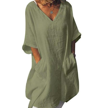 Cotton Petite Sundress - Plus Size Womens Cotton Linen Baggy T-Shirt Dress Tops Ladies Summer Sundress