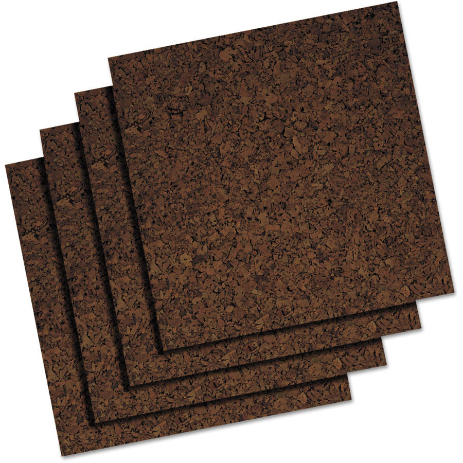 Quartet Cork Panel Bulletin Board, Natural Cork, 12 x 12, 4 Panels/Pack