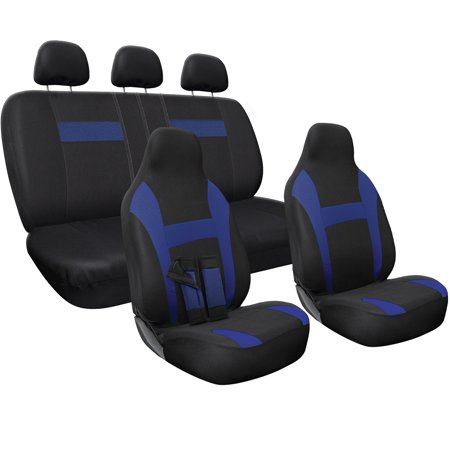 Pleasing Car Seat Cover Poly Cloth Two Tone With Front Low Bucket And 50 50 Or 60 40 Rear Split Bench Universal Fit For Cars Truck Suv Van 10 Pc Caraccident5 Cool Chair Designs And Ideas Caraccident5Info