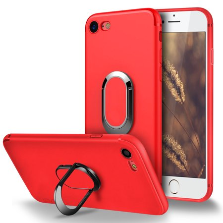 newest cb986 73809 iPhone 6 Case, iPhone 6S Case, Cellularvilla [Slim Fit] Matte Soft Flexible  TPU Protective Case with Built in 360 Degree Rotating Ring Holder ...