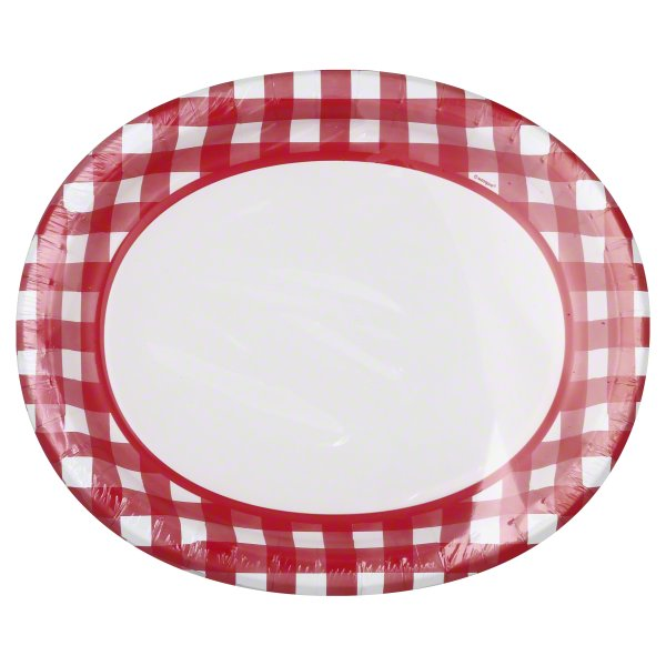 Gingham Oval Paper Plates, 12.25 in, Red and White, 8ct
