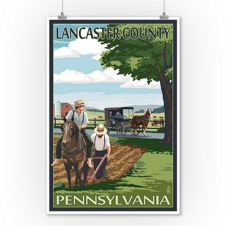 Lancaster County, Pennsylvania - Amish Farm Scene - Lantern Press Artwork (9x12 Art Print, Wall Decor Travel