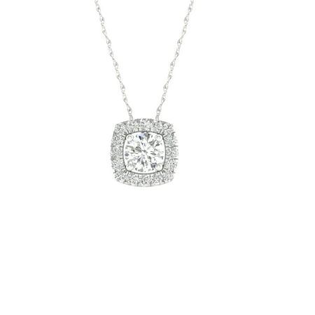 IGI Certified Imperial 1/6Ct TDW Diamond 10k White Gold Round Diamond Halo Pendant Necklace (H-I, I2)