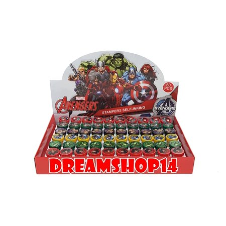 Marvel's Avengers Self Ink Stampers Full Party Favor Box 60pcs, Marvel's Avengers Self-Inking Stamps By Dreamshop14 (Avengers Party Boxes)