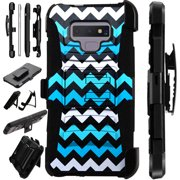 For Samsung Galaxy Note 9 Case Armor Hybrid Silicone Cover Stand LuxGuard Holster (2 Teal Chevron)
