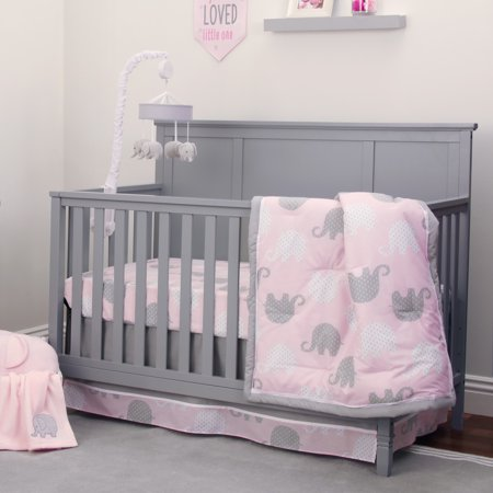 Nojo Dreamer Collection 8pc Elephant Pink Grey Crib Bedding Set