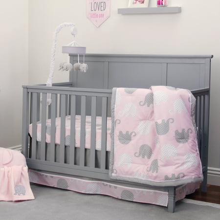 227840aaf NoJo Dreamer Collection 8pc Elephant Pink/Grey Crib Bedding Set ...