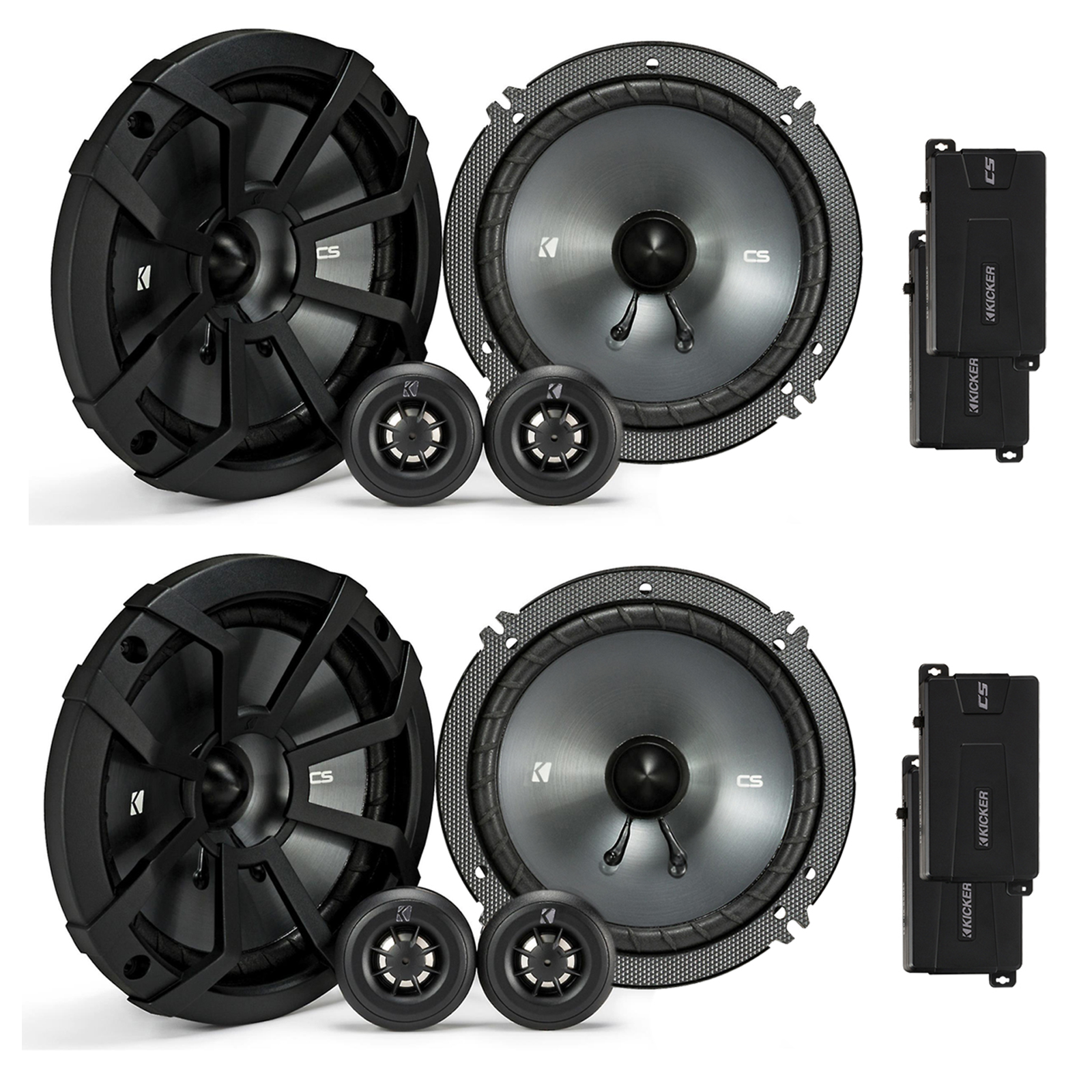 4 x Kicker 43CSS654 CSS65 6.5-Inch Component Speaker System with .75-Inch tweeters, 4-Ohm