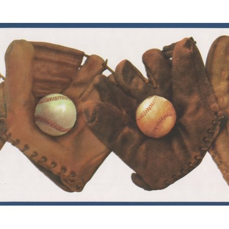 Vintage Brown Baseball Gloves with Balls Wallpaper Border Retro Design, Roll 15' x 8.5
