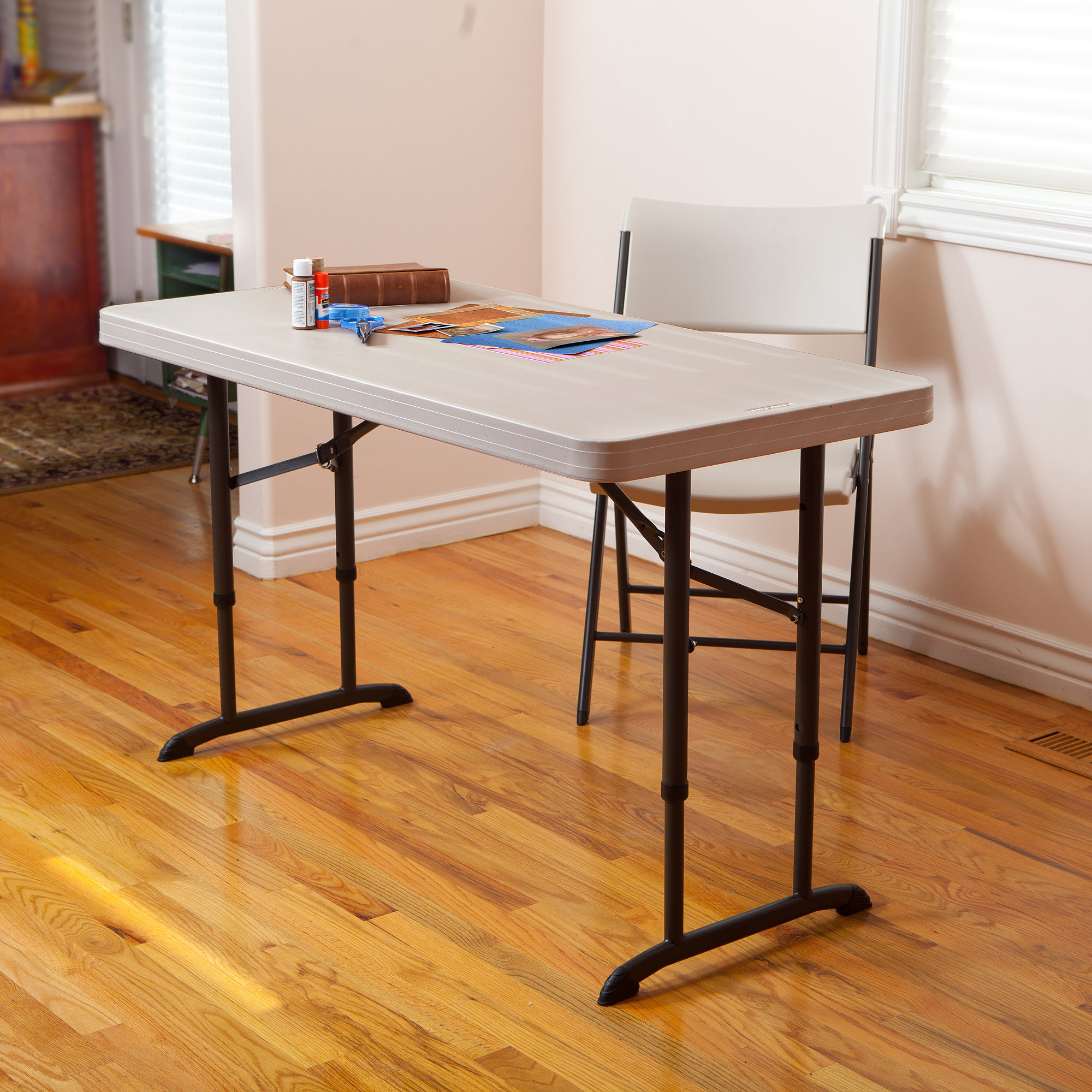 Lifetime 4' Adjustable Table, Almond
