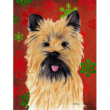 Carolines Treasures SC9415GF 11 x 15 in. Cairn Terrier Red and Green Snowflakes Holiday Christmas Garden Size Flag - image 1 de 1