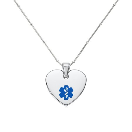 Divoti Custom Engraved Heart 316L Medical Alert Necklace -24