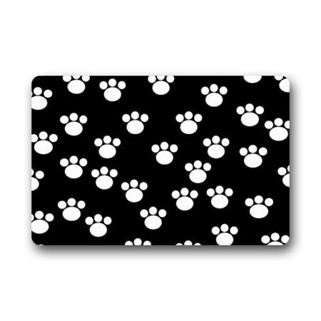 WinHome Black and White Cute Dog Cat Paw Animal Paw Doormat Floor Mats Rugs Outdoors/Indoor Doormat Size 23.6x15.7 inches ()