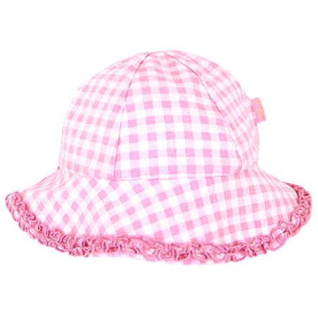 Le Top Baby Sunhat Pink Gingham Ruffle Brim 3-9 months