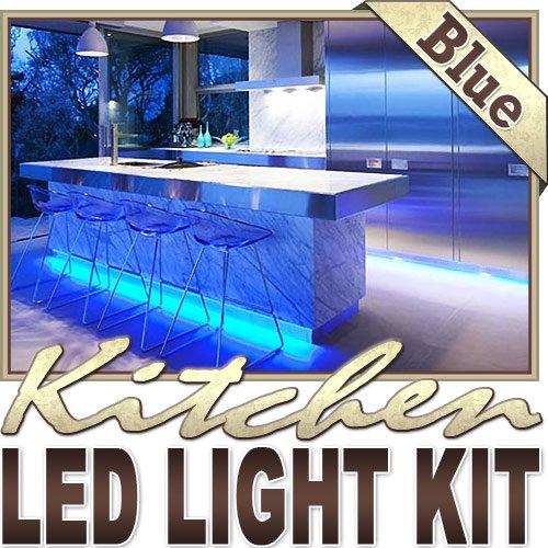 Biltek 3.3' Ft Blue Kitchen Glass Cabinet Remote