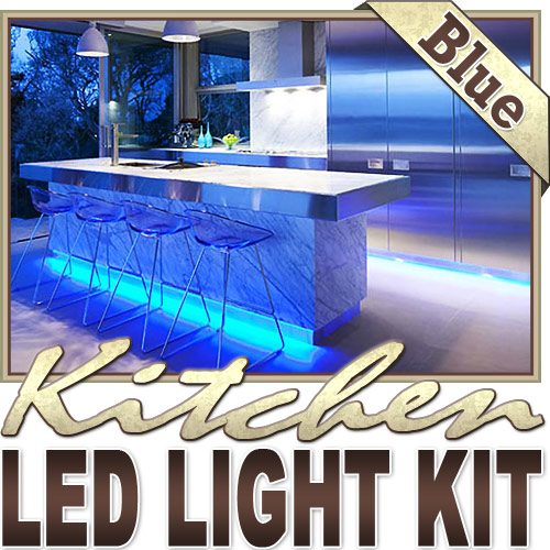 Biltek 16.4' ft Blue Kitchen Valance Microwave LED Backlight Night Light On/Off Switch Control Kit - Under Counters Microwave Glass Cabinets Floor Waterproof Flexible DIY 110V-220V