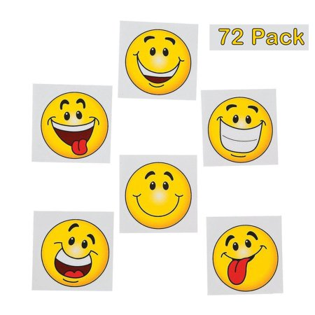 Emoji Tattoos - Pack Of 36 - 2 Inches Assorted Goofy Smiley Face Cool Emoticon Face Tattoo - For Kids - Great Party Favors, Bag Stuffers, Fun, Gift, Prize - By Kidsco - Emoji Smiley Face