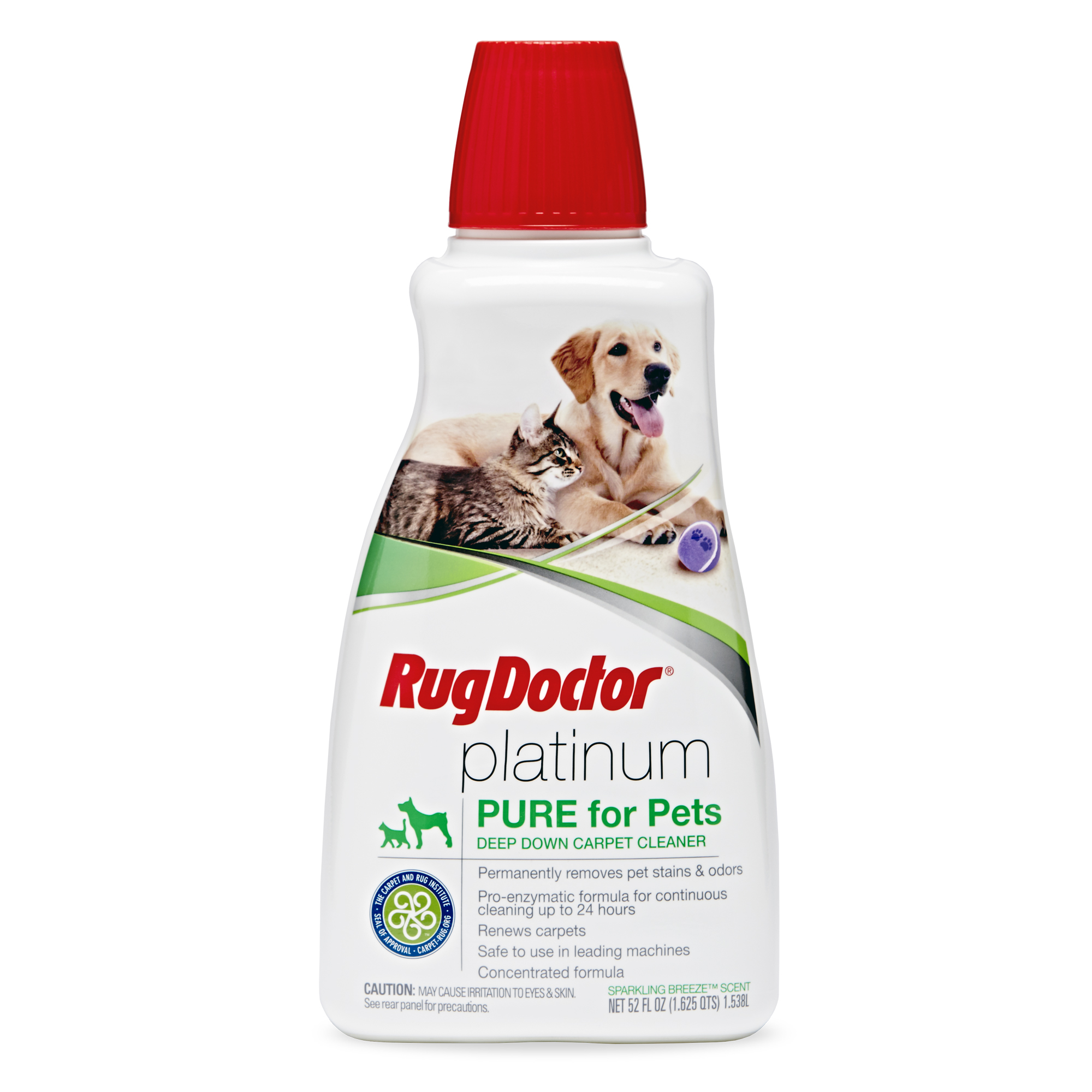 Rug Doctor Platinum PURE Pet Deep Carpet Cleaner; Powerful Formula Permanently Removes Pet Stains and Lingering Odors, Renews Carpets and Deters Remarking; Refreshing Sparkling Breeze Scent; 52 oz.