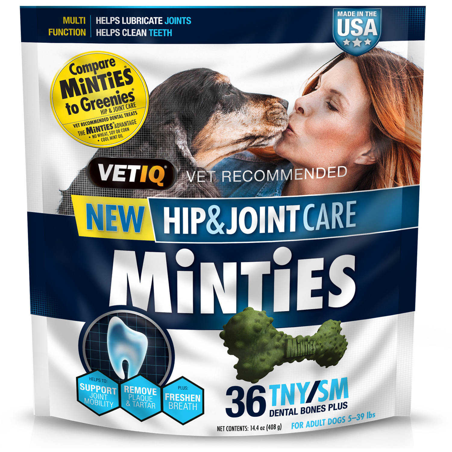 Minties Hip and Joint Dental Dog Treats Tiny/Small, 36 Count