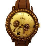 Disney Women's MK1182 Rhinestone Accent Mickey Mouse Brown Rubber Strap Watch