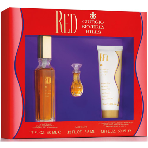 Red Giorgio Beverly Hills 3 pc Gift Set Women