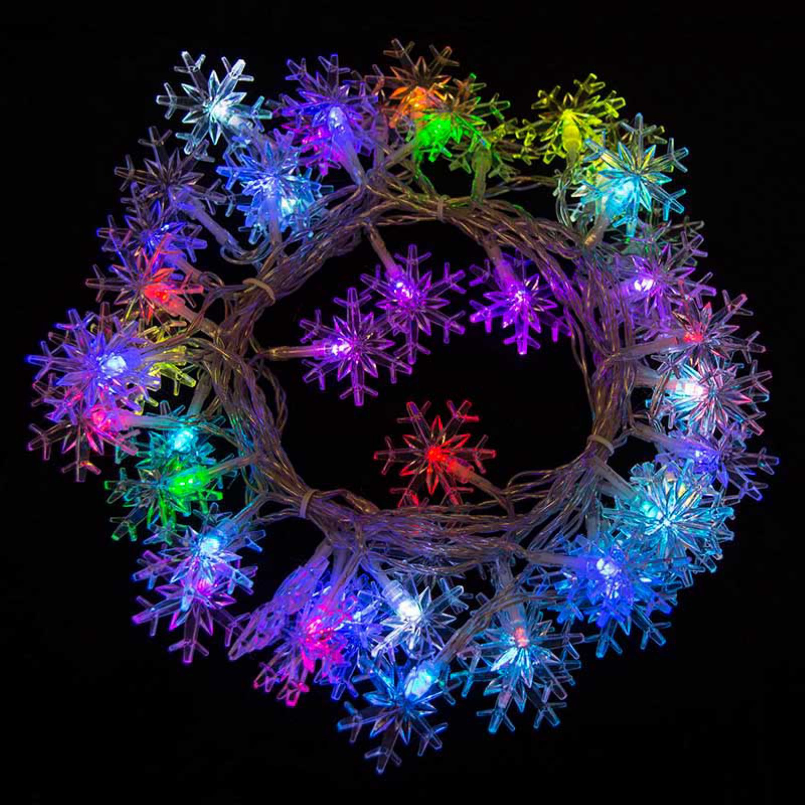 2EL50LEDSNOWRGB Electric Powered 50 LED Multicolor Snowflake Flash Light Christmas Holiday Light, 19.5', Lot of 2 by ALEKO