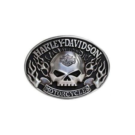 - Mens Belt Buckle Immunity Flame Willie G Skull Silver HDMBU10409, Harley Davidson