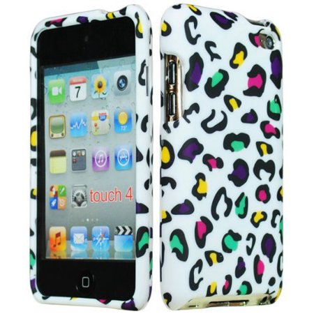 Bastex Hard Rubberized Animal Print Case for Apple iPod Touch 4, 4th Generation - Pink, Yellow, Green, & Purple Leopard Design