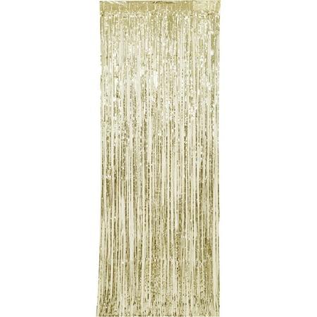 (2 pack) Gold Foil Fringe Door Curtain, 3ft x 8ft - Gold Fringe Backdrop