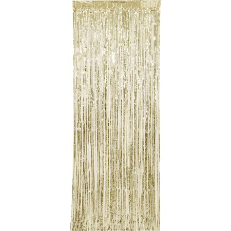 (2 pack) Gold Foil Fringe Door Curtain, 3ft x 8ft](Gold Metallic Fringe Curtain)